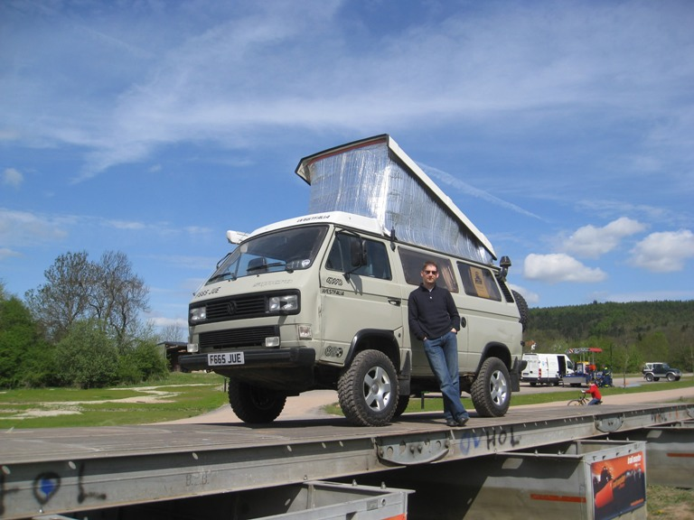 Limey after having won the highest Syncro (most ground clearance) at Syncro 25 years - a show in Germany to celebrate 25 years of the VW Transporter T3 Syncro going into production. Limey beat over 500 other Syncros to first place!