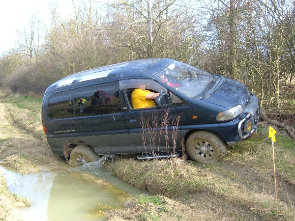You see, we don't just do Landrovers! Martin Turner at his first RTV has chosen a somewhat unusual vehicle to compete in, a Toyota Delica (or Delia Smith as it is now known) (Picture by Roger Taylor)